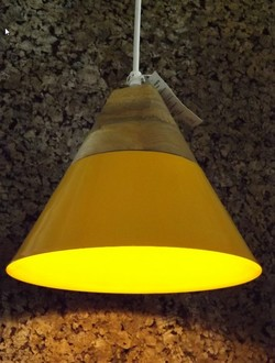 Lampara Wooden and Iron yellow